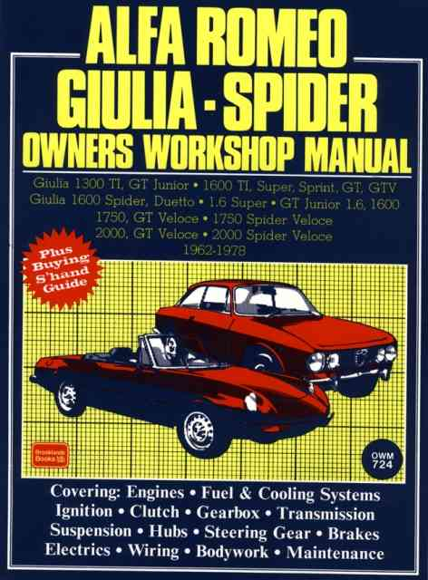 Alfa Romeo Giulia - Spider Owners Workshop Manual 1962-1978 By Clarke, R. M.